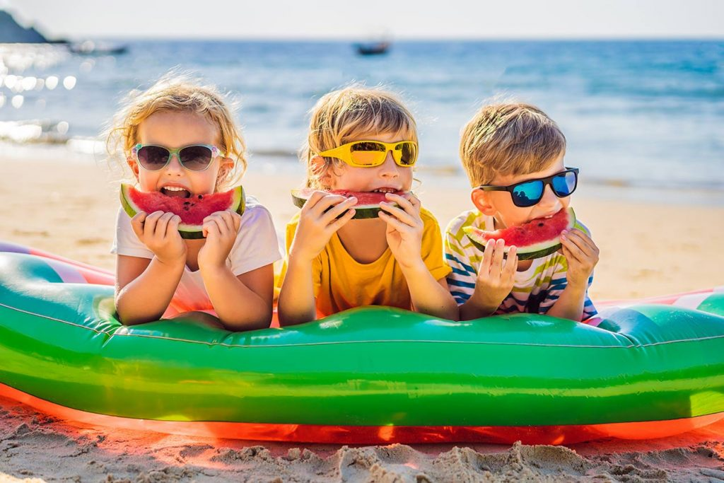 Kinder, Ferien, Urlaub, Langeweile, Beschäftigung, Holiday, Strand, Sommer, Wassermelone, Fun, Spaß